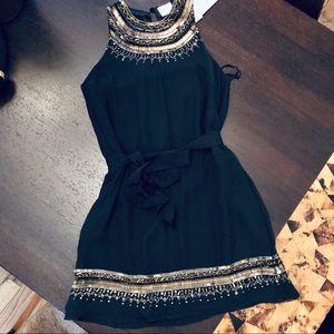 Parker Black Tribal Embellished Silk Dress NWT
